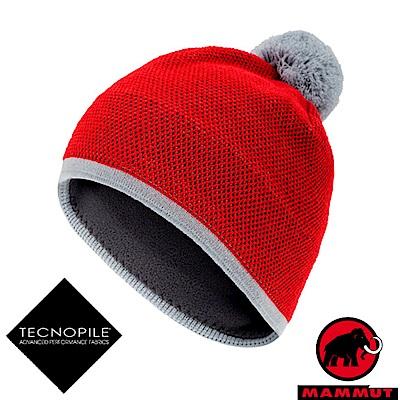 MAMMUT 長毛象 Snow Beanie 超輕彈性針織保暖帽_岩漿紅
