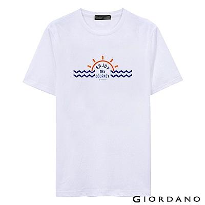 GIORDANO 男裝假期休閒印花T恤-37 標誌白