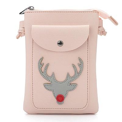 iSPurple 紅鼻子馴鹿 聖誕證件手機零錢小側背包 粉