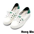 Hong Wa 簡約素面牛皮綁帶休閒小白鞋 - 綠白