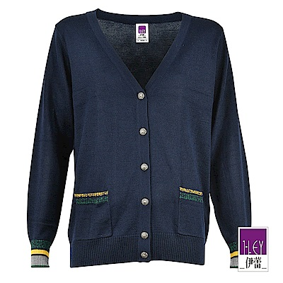 ILEY伊蕾 局部配條百搭羊毛混紡針織外套(藍)