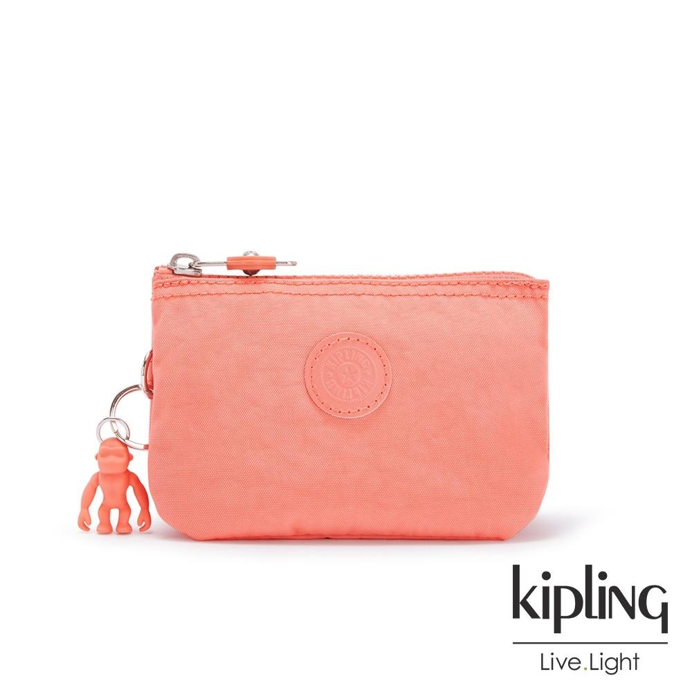 Kipling 俏皮珊瑚橘三夾層配件包-CREATIVITY S