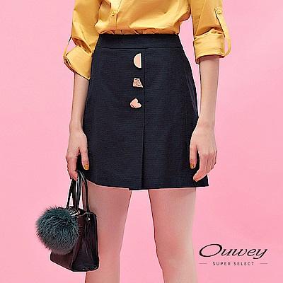 OUWEY歐薇 透氣棉質時尚金屬造型褲裙(藍)