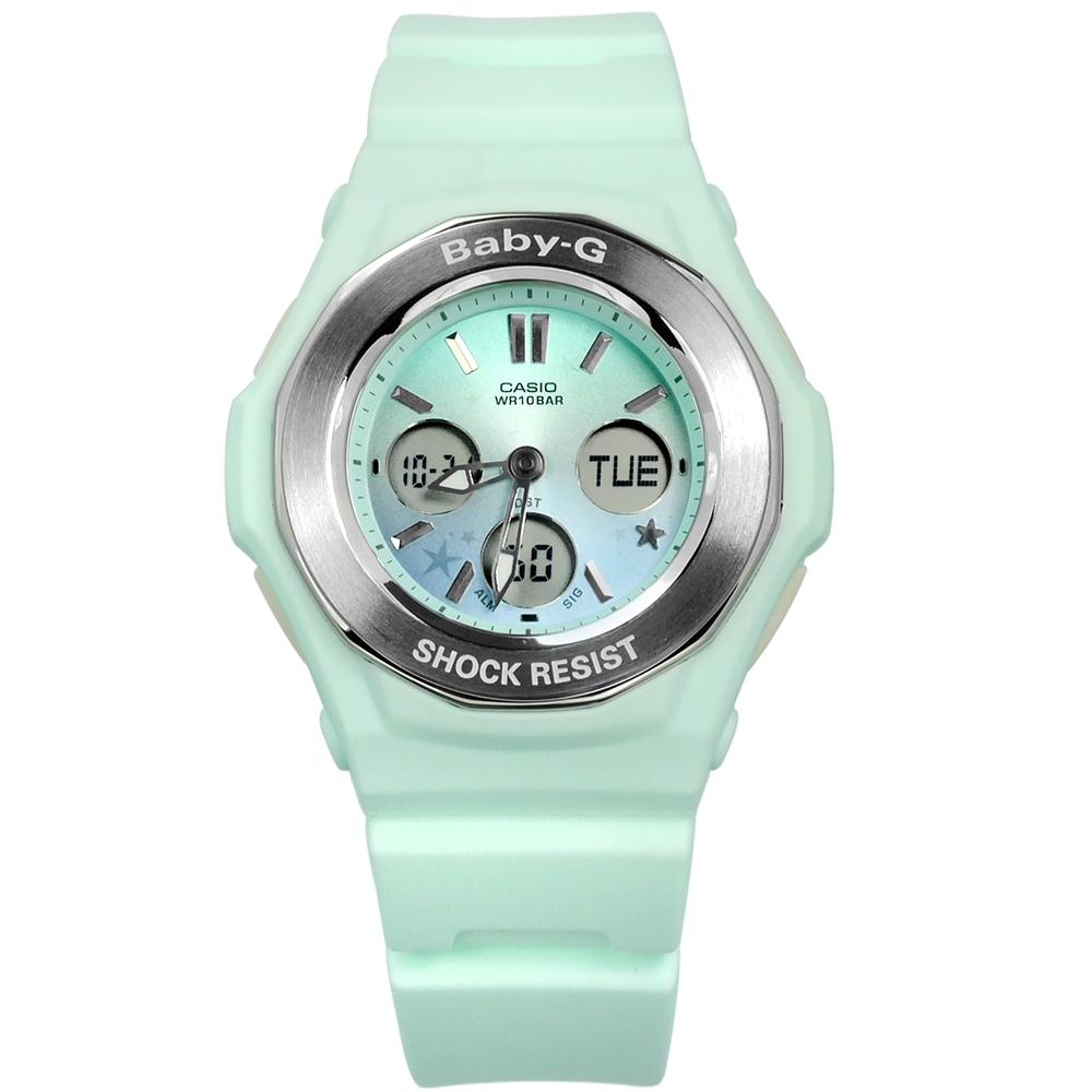 Baby-G CASIO 卡西歐 漸層粉嫩指針數位雙顯錶-淺綠藍色/37mm