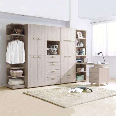 Boden-珊迪10.6尺北歐風多功能收納書桌衣櫃組合(開門+開放式+書桌)-317x59x202cm