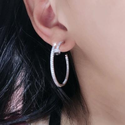 梨花HaNA 韓國925銀全鑽細緻手工鑲飾釘子大圈耳環