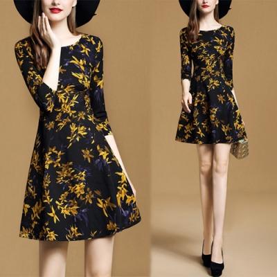 【KEITH-WILL】歐洲站輕熟舒心時尚印花洋裝