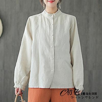 純色木耳領長袖襯衫-共3色(F可選)    初色