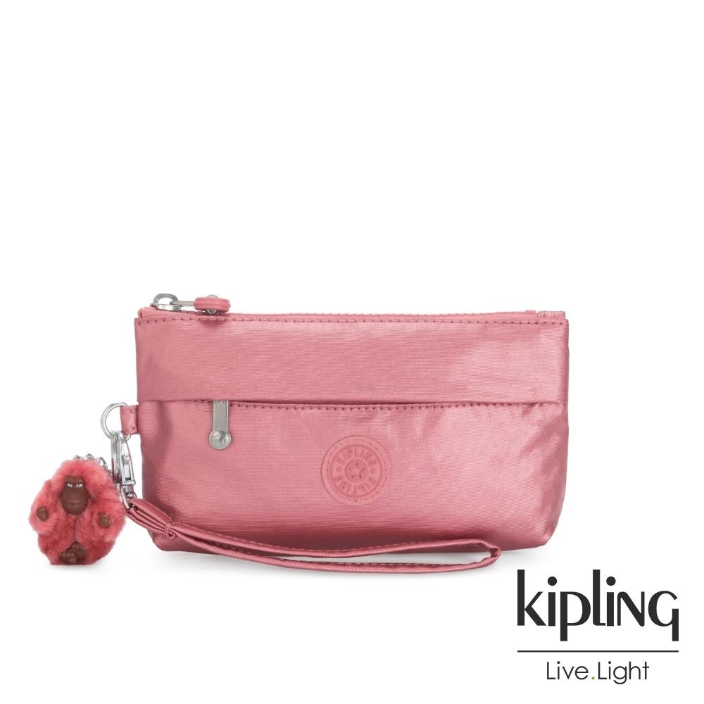 Kipling 甜美俏皮粉手拿配件包-NIYLAH