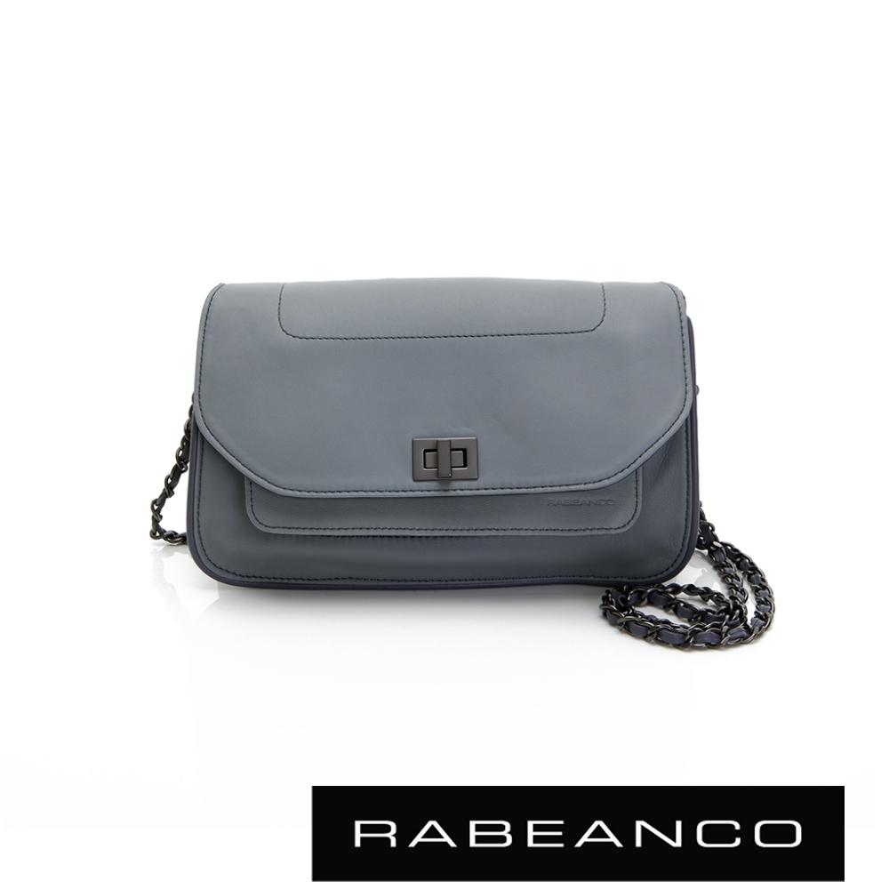RABEANCO 迷時尚牛皮系列鍊帶雙層轉釦方包(大) 暗灰