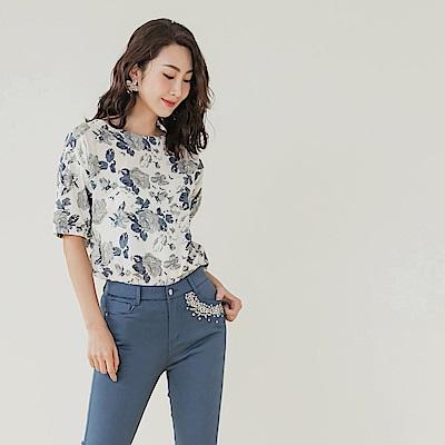 高含棉不易皺氣質玫瑰印花涼爽澎袖上衣-OB大尺碼