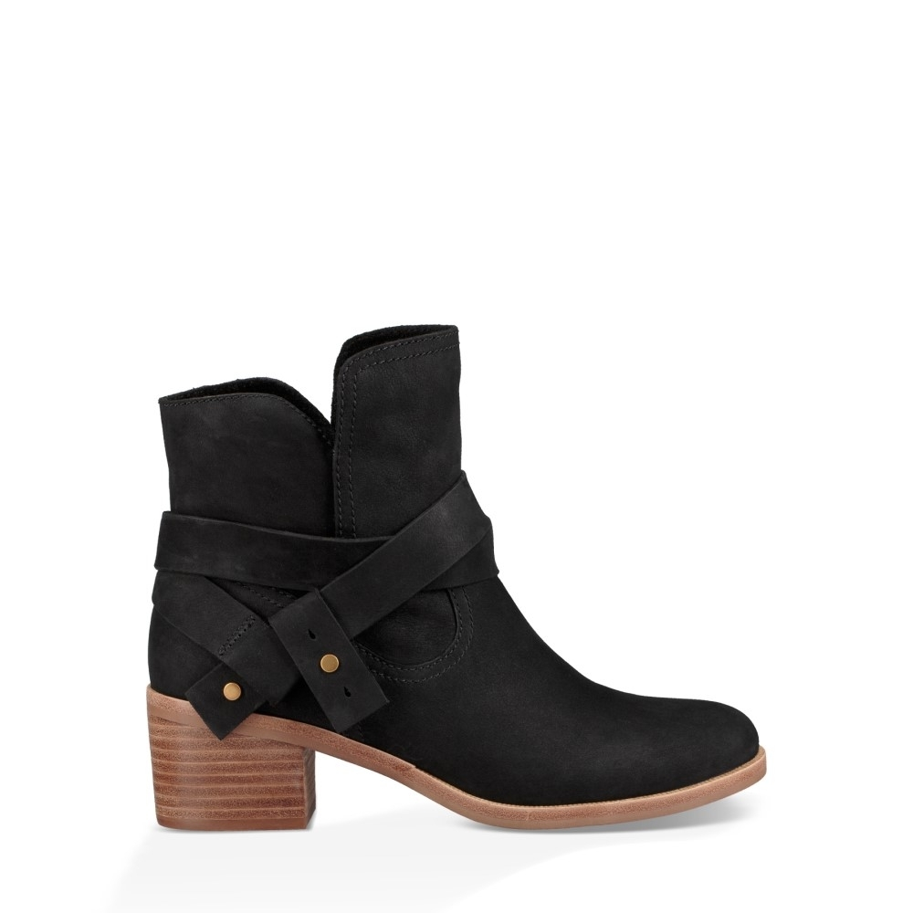 UGG短靴 Elora皮革環帶低跟短靴 真皮絨面踝靴