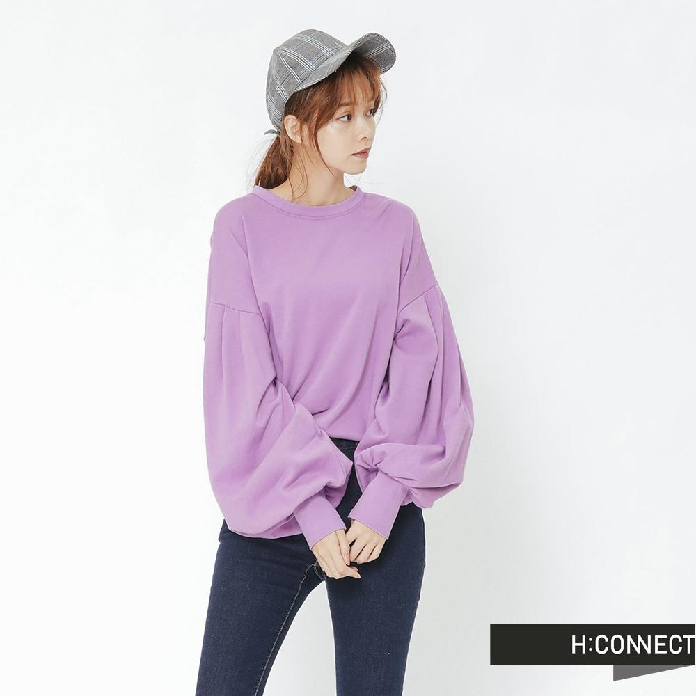 H:CONNECT 韓國品牌 女裝 - 抓皺澎袖造型上衣-紫(快)