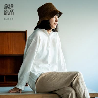 旅途原品_魚水_精梳棉寬鬆襯衫- 白/淺藍/藏青