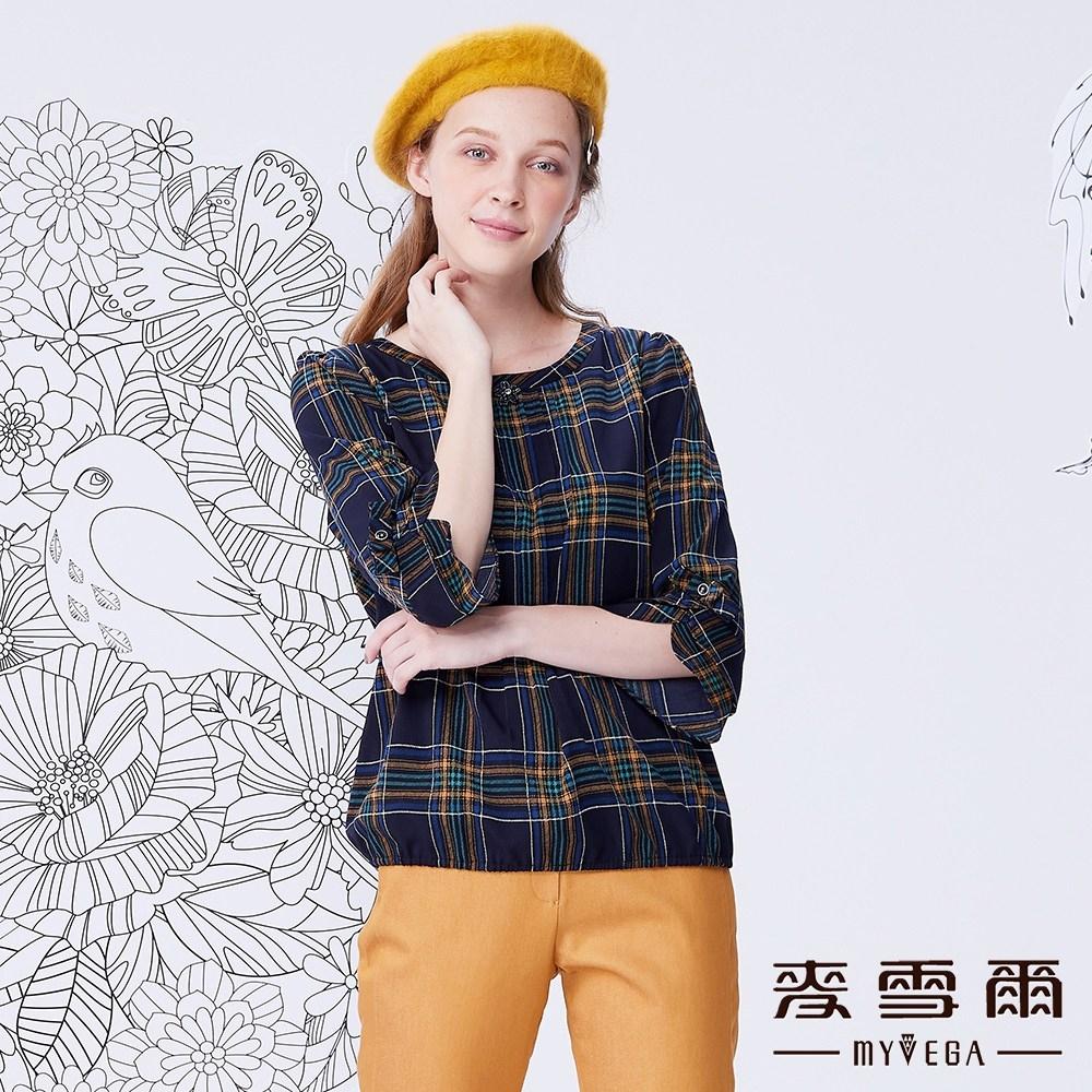 MYVEGA麥雪爾 格紋造型袖雪紡上衣-藍