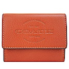 COACH 壓印LOGO皮革票卡零錢包(小/紅棕)