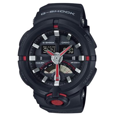 G-SHOCK前衛時尚渾圓大錶殼設計城市運動概念錶(GA-500-1A4)-紅針X黑48.9mm