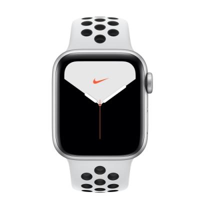 [無卡分期-12期]Apple Watch Nike S5(GPS)40mm銀色鋁金屬錶殼+白色錶帶