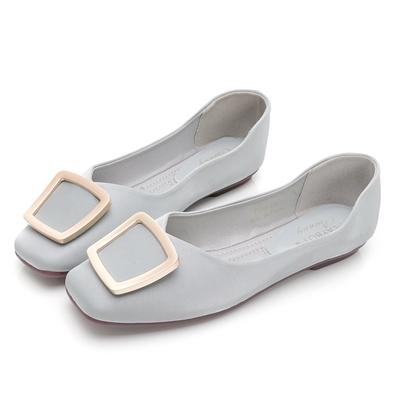 PLAYBOY 優雅浪漫 顯瘦方頭平底鞋-藍-Y7309FF