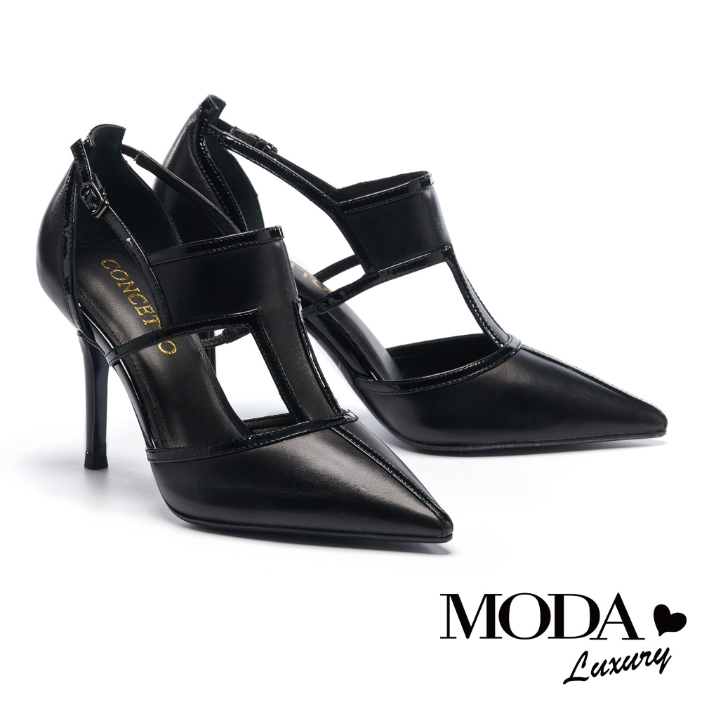高跟鞋 MODA Luxury 極致自信簍空線型輪廓羊皮尖頭高跟鞋-黑