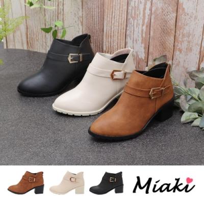 Miaki-短靴.V型單扣尖頭中跟踝靴