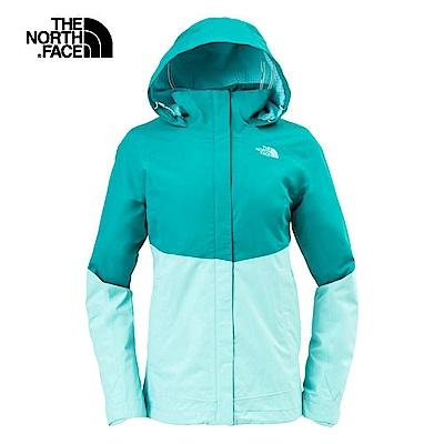 The North Face北面女款藍綠色防水透氣連帽外套 3L9C6RL