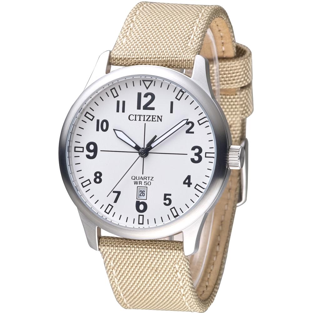 CITIZEN星辰手錶 簡約流行運動風男錶-卡其色帆布帶(BI1050-05A)/40mm 保固二年