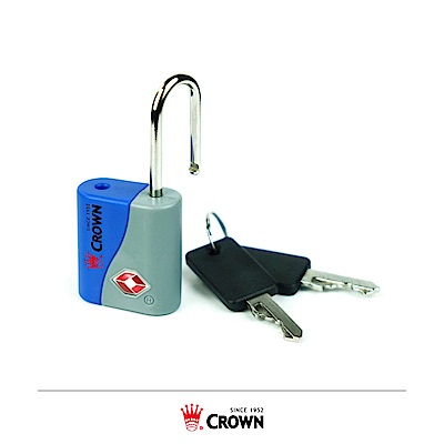 CROWN 皇冠 TSA海關鑰匙鎖 鎖頭掛鎖 藍色