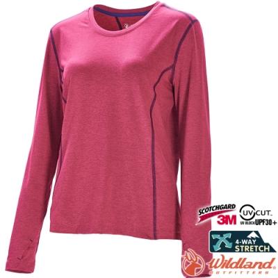 Wildland 荒野 0A71655-09桃紅色 女圓領雙色抗UV長袖上衣