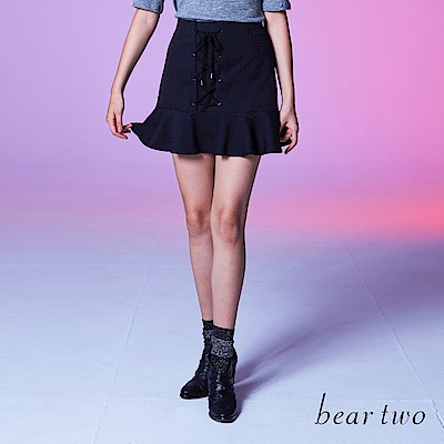 beartwo 裙襬荷葉邊綁帶A字短裙(二色)