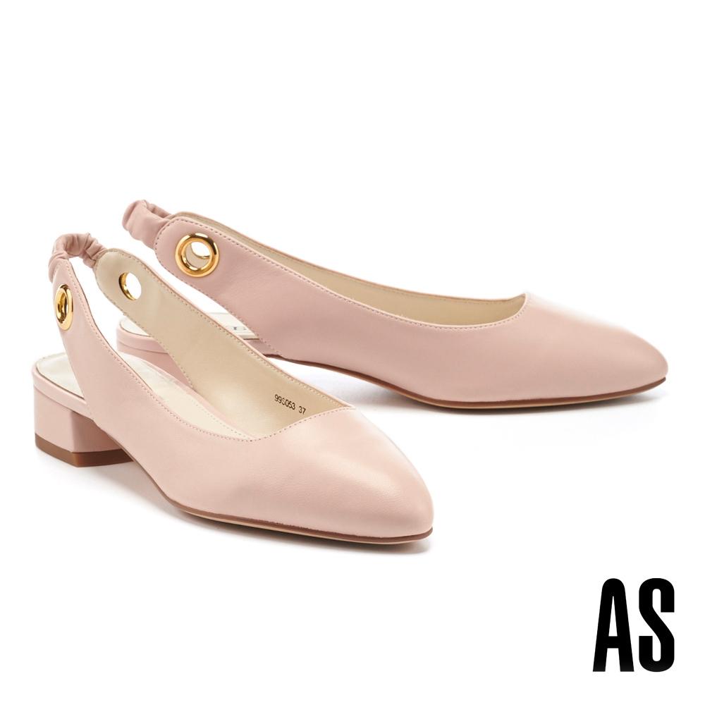 低跟鞋 AS 義式情調兩穿造型羊皮繫帶低跟鞋-粉