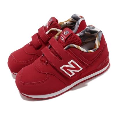 New Balance 休閒鞋 IV574GYI W 寬楦 運動 童鞋 紐巴倫 基本款 簡約 魔鬼氈 小童 穿搭 紅 白 IV574GYIW