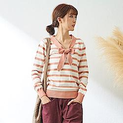 慢 生活 學院風打結領針織衫-藍/粉紅