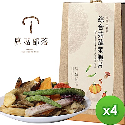 魔菇部落 魔菇小食點-綜合菇蔬菜脆片(90gX4盒)