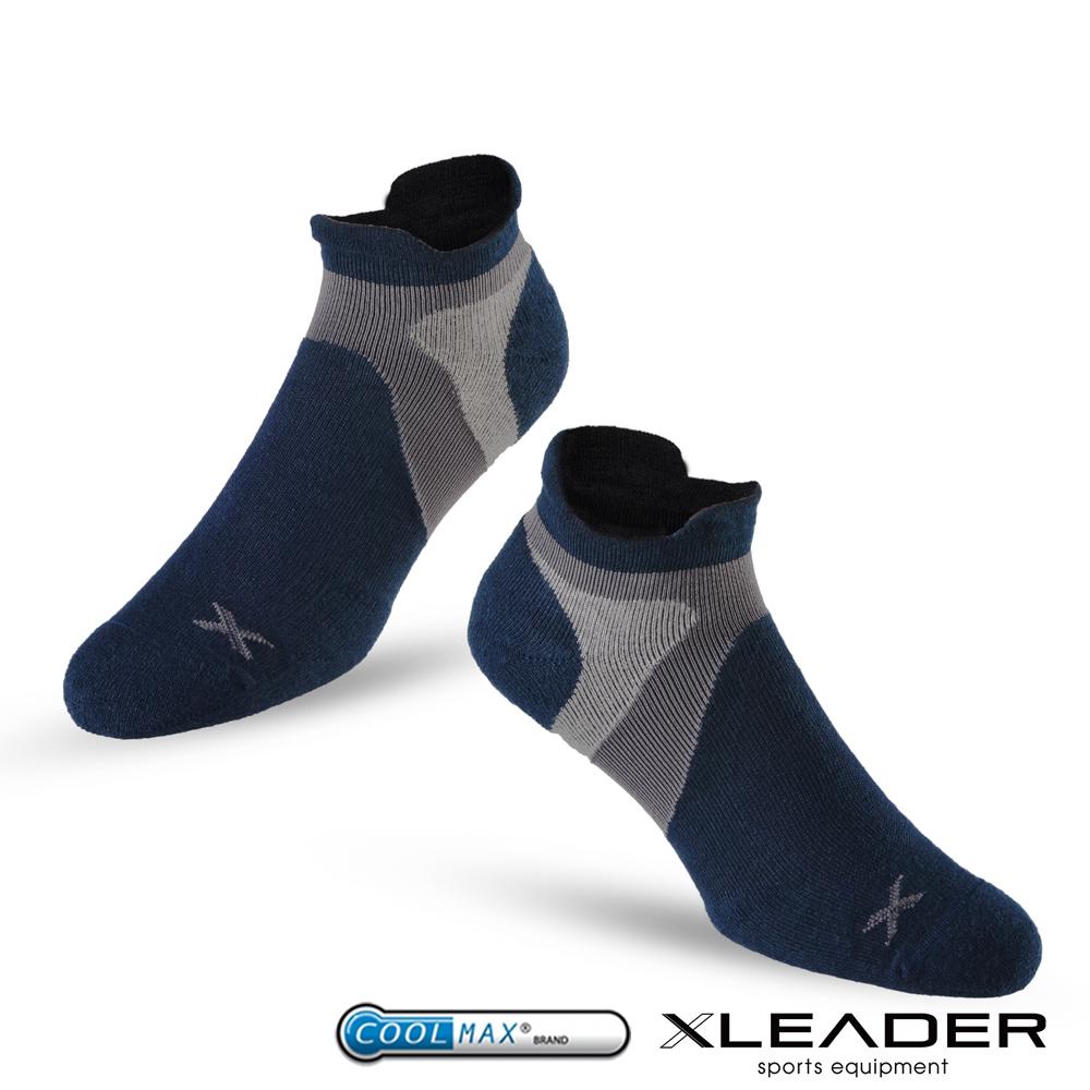 LEADER ST-02 X型繃帶加厚耐磨避震 機能除臭運動襪 男款 深藍灰 - 急