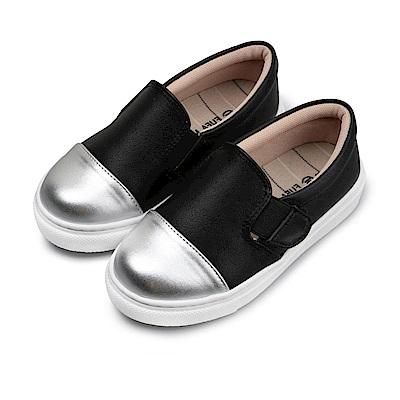 BuyGlasses 銀頭素面魔鬼氈兒童懶人鞋-黑