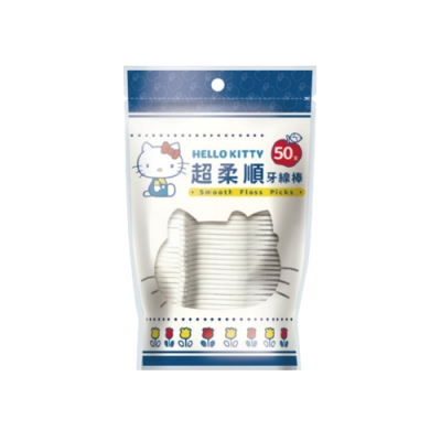 Hello Kitty 凱蒂貓超柔順牙線棒輕巧包 50 支 X 12 袋