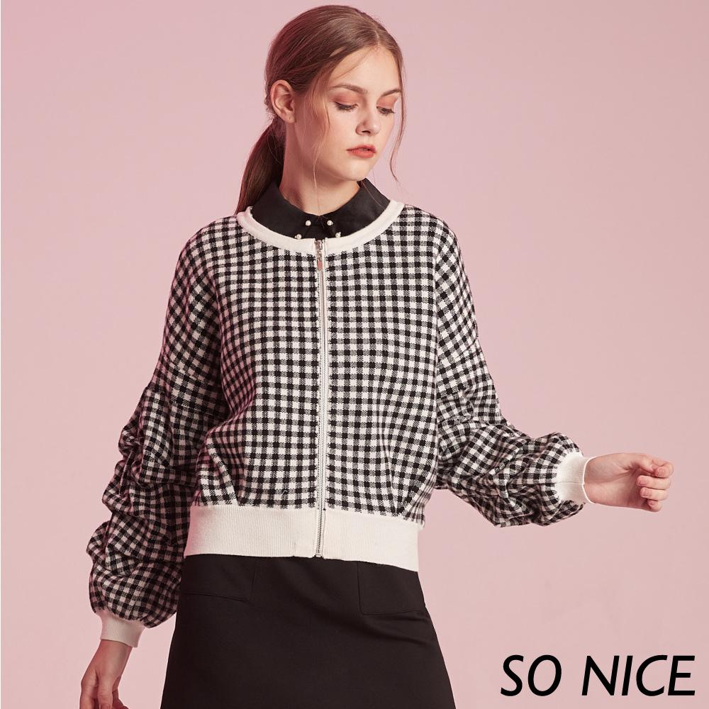 SO NICE經典格紋造型袖針織外套