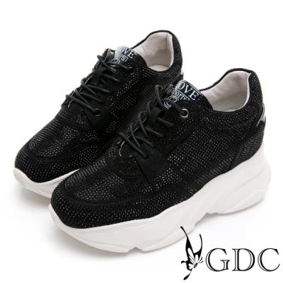 GDC-炫彩滿版水鑽綁帶運動風厚底休閒鞋-黑色