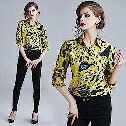 個性時髦帥氣豹紋翻領排扣襯衫S-XL-M2M