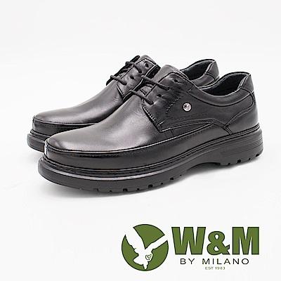 W&M 經典LOGO綁帶增高厚底男皮鞋-黑