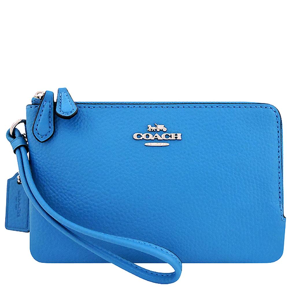 COACH 水藍色皮革雙層手拿包COACH