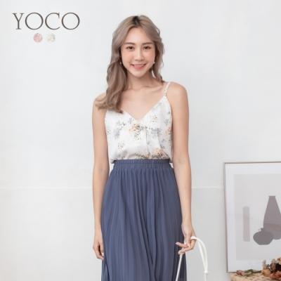 東京著衣-YOCO 清透柔美印花V領可調式細肩小背心-S.M.L(共二色)