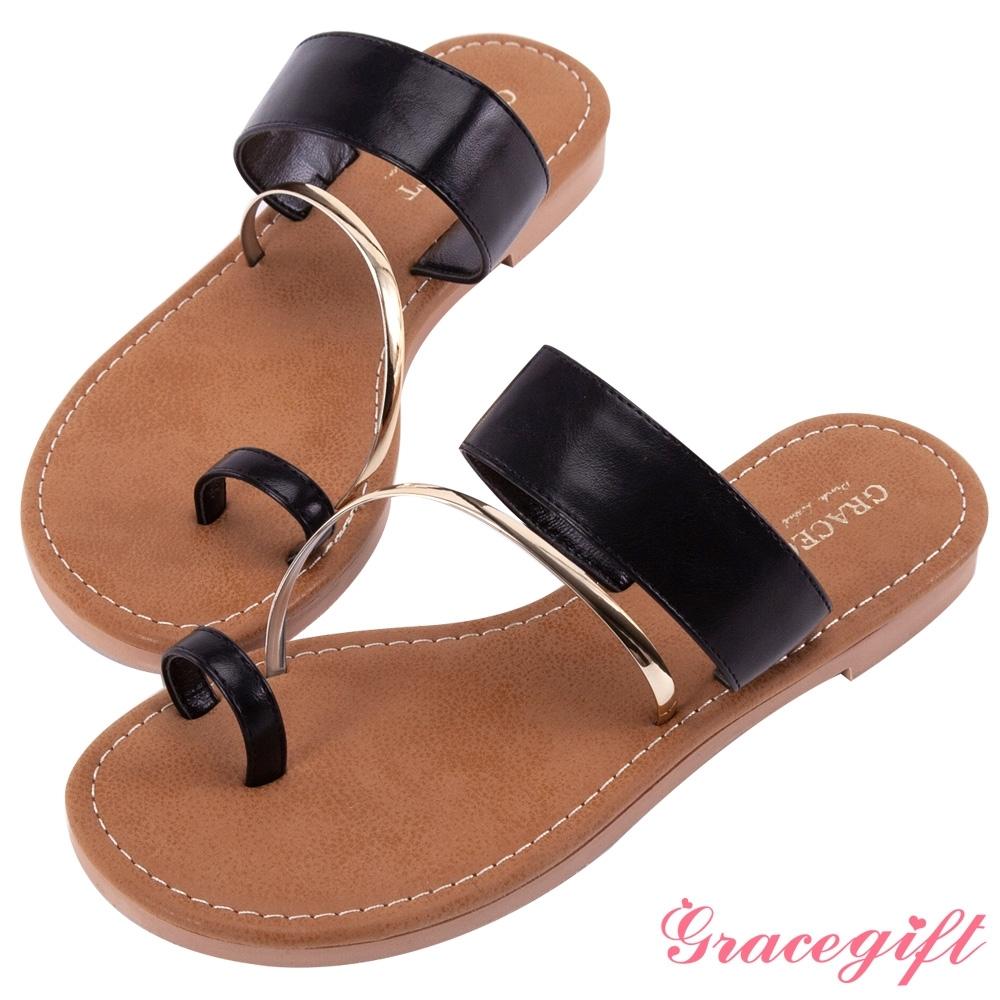 Grace gift-一字金屬套趾涼拖鞋 黑
