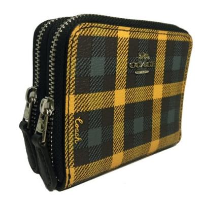 COACH PVC皮革雙拉鍊ㄇ型拉鍊零錢袋短夾(黃綠格/焦糖)