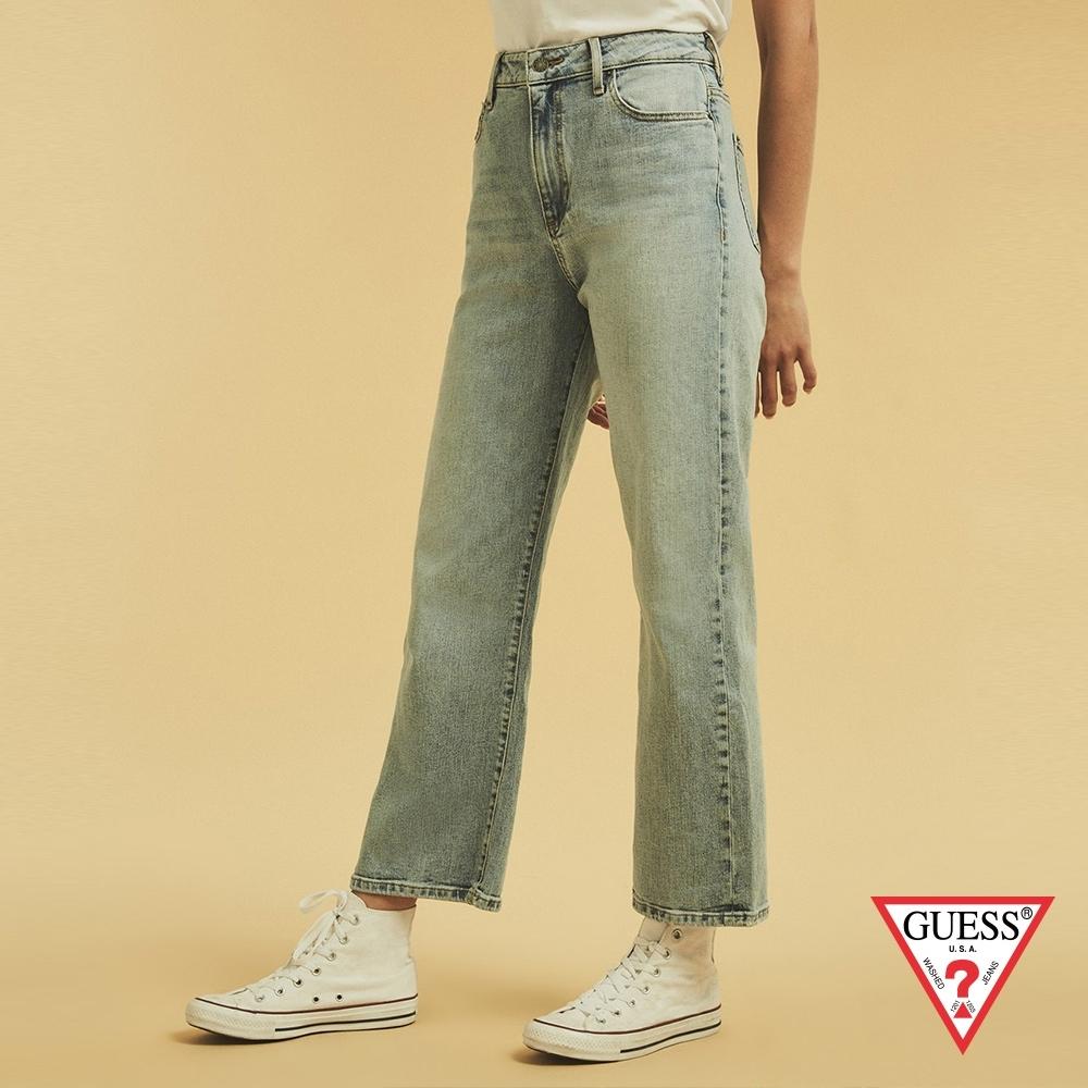 GUESS-女裝-ORIGINALS系列高腰水洗七分牛仔寬褲-淺藍 原價3990