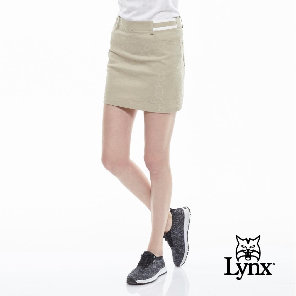 【Lynx Golf】女款Lynx字樣緹織設計休閒褲裙-卡其色