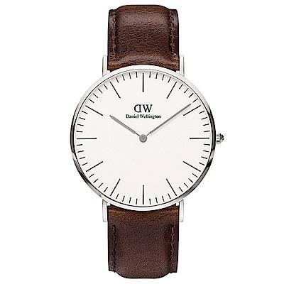 DW手錶 官方旗艦店 40mm銀框 Classic 深棕真皮皮革手錶