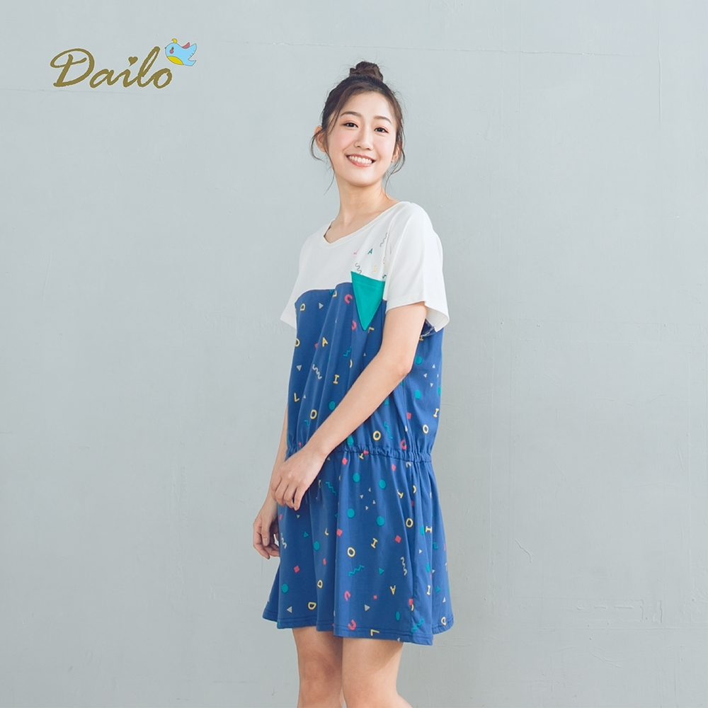 【Dailo】可愛印花拼接-上衣(二色)