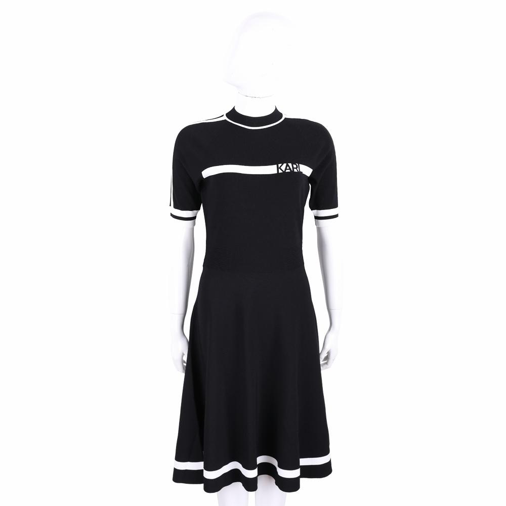 KARL LAGERFELD 卡爾 老佛爺 羅紋細節黑色腰身針織連身裙 洋裝